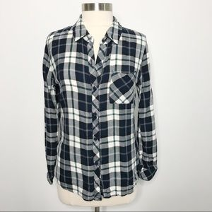 Rails Hunter Button Down Shirt White Blue Green M